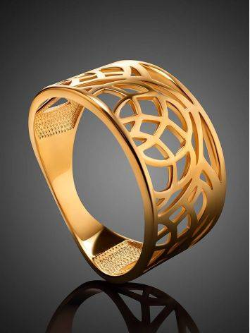 Laced Gold Plated Silver Band Ring, Ring Size: 7 / 17.5, image , picture 2