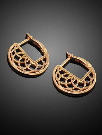 Laced Gold Plated Silver Round Earrings, image , picture 2