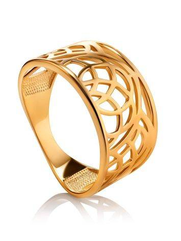 Laced Gold Plated Silver Band Ring, Ring Size: 7 / 17.5, image