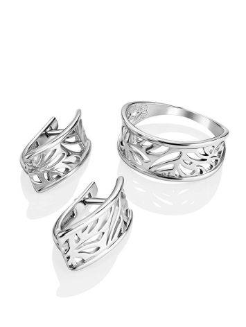 Silver Floral Band Ring The Sacral, Ring Size: 6.5 / 17, image , picture 4