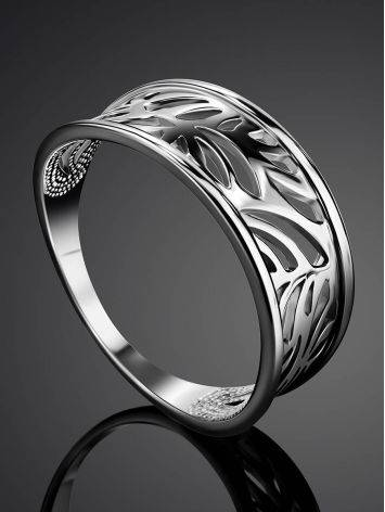Silver Floral Band Ring The Sacral, Ring Size: 6.5 / 17, image , picture 2