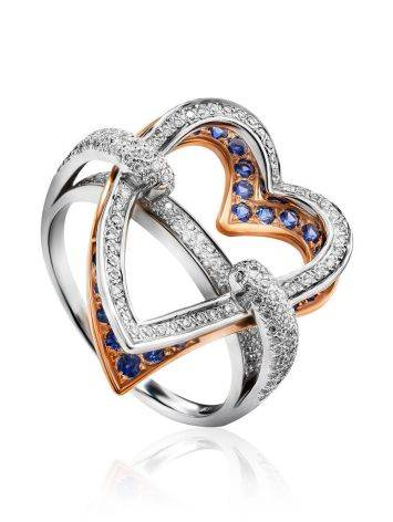 Fabulous Heart Shaped Diamond Ring With Sapphires, Ring Size: 8.5 / 18.5, image