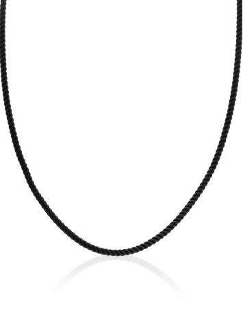 Black Textile Cord Necklace, Length: 45, image , picture 3