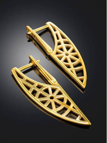 Designer Geometric Gold Plated Silver Earrings, image , picture 2