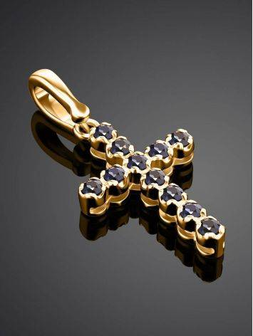 Versatile Gold Sapphire Cross Pendant, image , picture 2