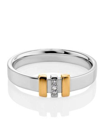 Silver Ring With Golden Details And Diamonds The Diva, Ring Size: 5.5 / 16, image , picture 3