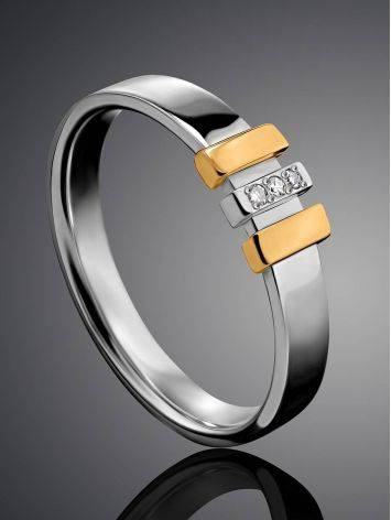 Silver Ring With Golden Details And Diamonds The Diva, Ring Size: 5.5 / 16, image , picture 2