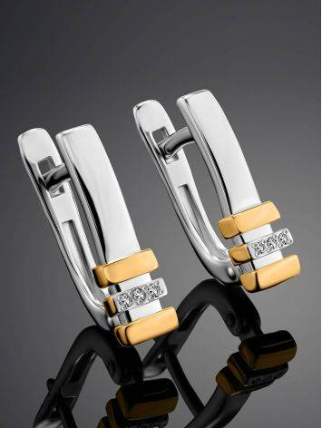 Silver Earrings With Golden Elements And Diamonds The Diva, image , picture 2