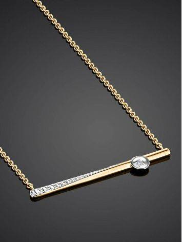 Golden Necklace With Diamond Crossbar Pendant, image , picture 2