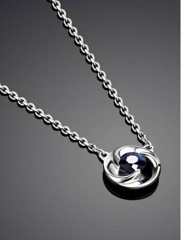 Laconic White Gold Sapphire Necklace, image , picture 2