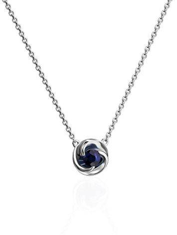 Laconic White Gold Sapphire Necklace, image