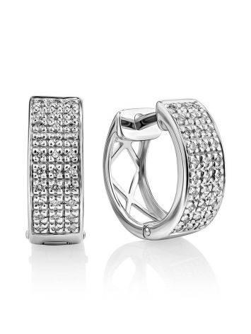 Elegant White Gold Diamond Earrings, image