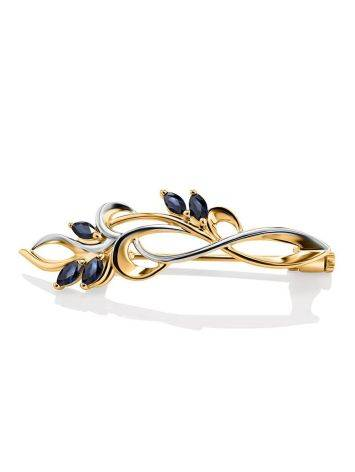 Romantic Two Toned Golden Brooch With Sapphires, image