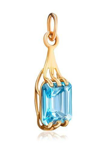 Geometric Golden Pendant With Topaz, image , picture 3