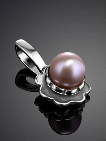 Adorable Silver Pendant With Mauve Colored Pearl, image , picture 2