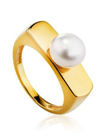 Adorable Gold Plated Ring With Pearl, Ring Size: 5.5 / 16, image