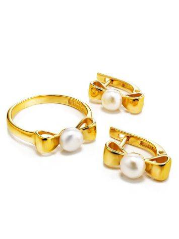 Charming Gold Plated Earrings With Pearl, image , picture 3