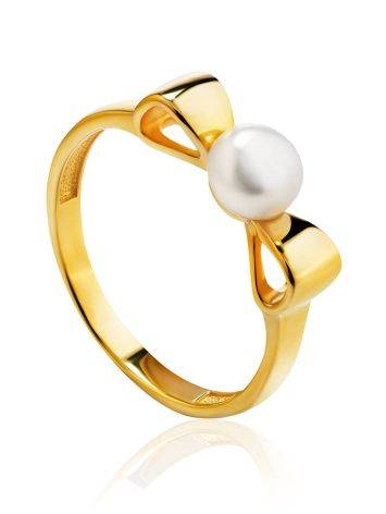 Classy Gold Plated Pearl Ring, Ring Size: 5.5 / 16, image