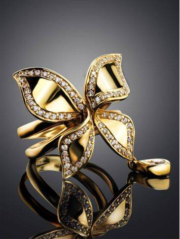 Fantastic Golden Ring With Crystals, Ring Size: 8 / 18, image , picture 2