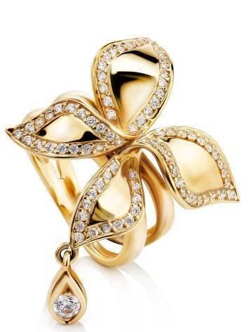 Fantastic Golden Ring With Crystals, Ring Size: 8 / 18, image