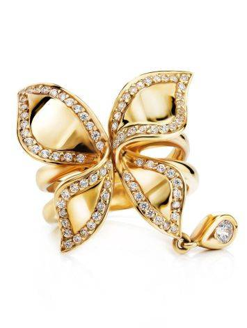 Fantastic Golden Ring With Crystals, Ring Size: 8 / 18, image , picture 3