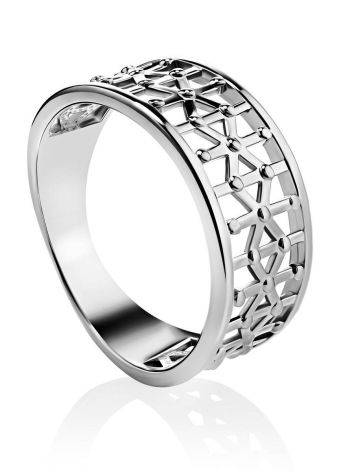 Geometric Silver Band Ring The Sacral, Ring Size: 6.5 / 17, image