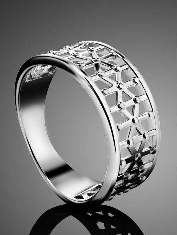 Geometric Silver Band Ring The Sacral, Ring Size: 6.5 / 17, image , picture 2