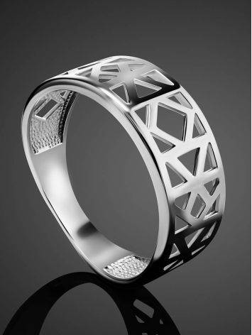 Laced Silver Band Ring The Sacral, Ring Size: 6.5 / 17, image , picture 2