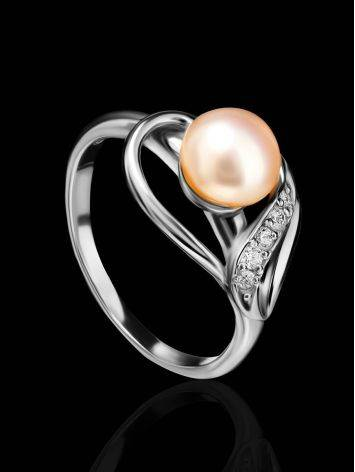 Classy Silver Ring With Pearl And Crystals, Ring Size: 6.5 / 17, image , picture 2