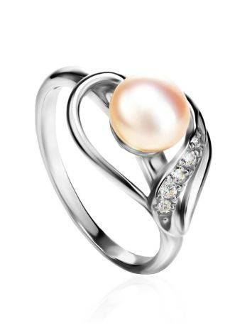 Classy Silver Ring With Pearl And Crystals, Ring Size: 6.5 / 17, image