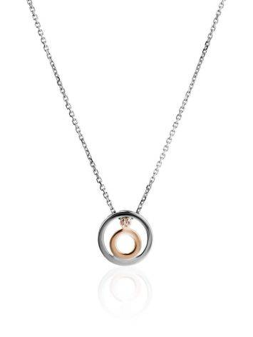 Silver Necklace With Round Diamond Pendant The Diva, Length: 40, image
