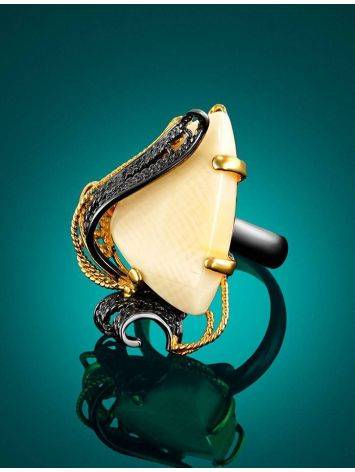 Bold Gold-Plated Cocktail Ring With Mammoth Tusk The Era, Ring Size: Adjustable, image , picture 2