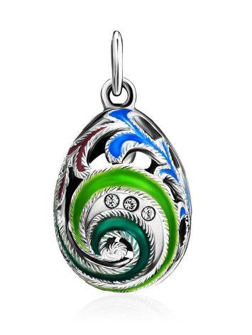 Colorful Enamel Egg Shaped Pendant With Crystals The Romanov, image