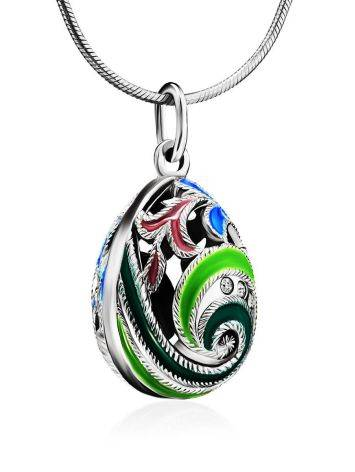 Colorful Enamel Egg Shaped Pendant With Crystals The Romanov, image , picture 3