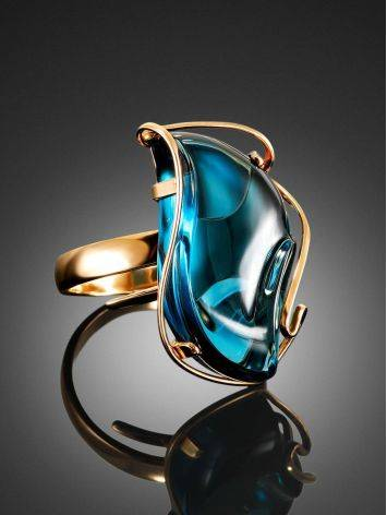 Bold Topaz Cocktail Ring In Gold The Serenade, Ring Size: Adjustable, image , picture 2