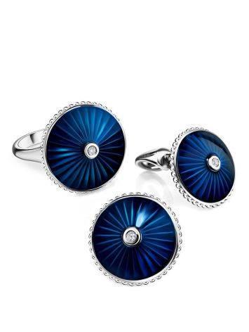 Blue Enamel Diamond Stud Earrings The Heritage, image , picture 3