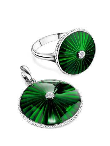 Round Silver Pendant With Green Enamel And Diamond The  Heritage, image , picture 4