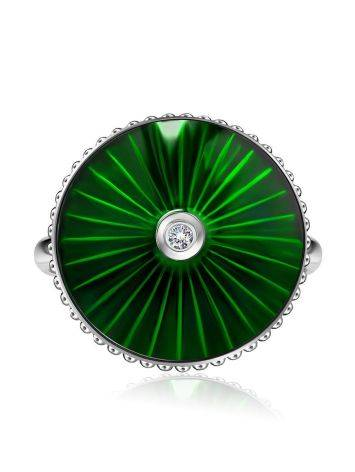 Green Enamel Diamond Ring The Heritage, Ring Size: 5.5 / 16, image , picture 3