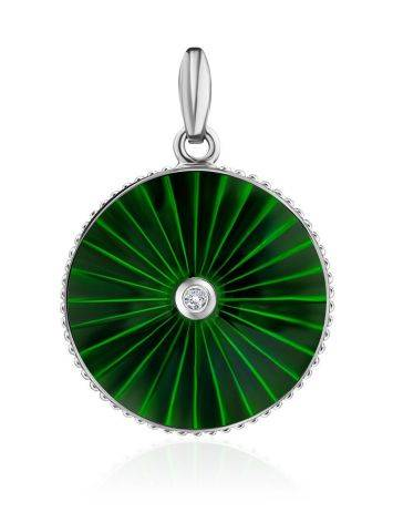Round Silver Pendant With Green Enamel And Diamond The  Heritage, image