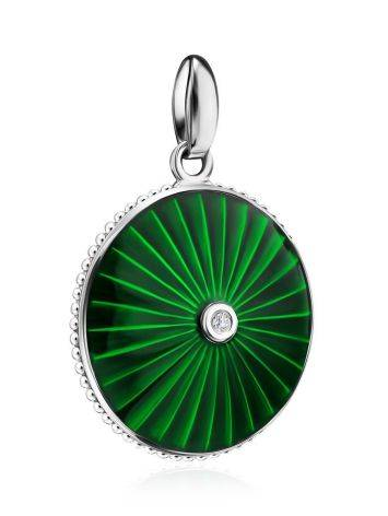 Round Silver Pendant With Green Enamel And Diamond The  Heritage, image , picture 3