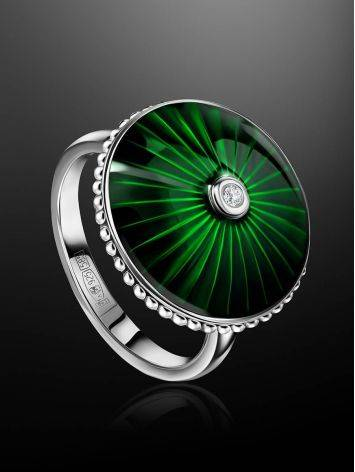 Green Enamel Diamond Ring The Heritage, Ring Size: 5.5 / 16, image , picture 2