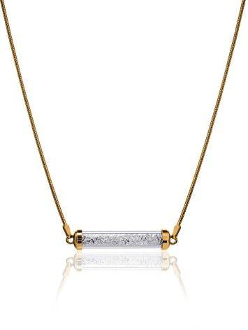 Gold Plated Bar Necklace With Crystals The Ice, image