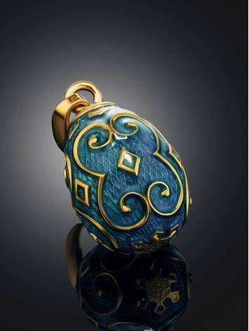 Ornate Gold Plated Egg Shaped Pendant With Enamel The Romanov, image , picture 2
