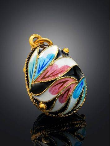 Floral Design Enamel Egg Shaped Pendant The Romanov, image , picture 2