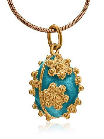 Gold Plated Egg Shaped Pendant With Enamel The Romanov, image , picture 3