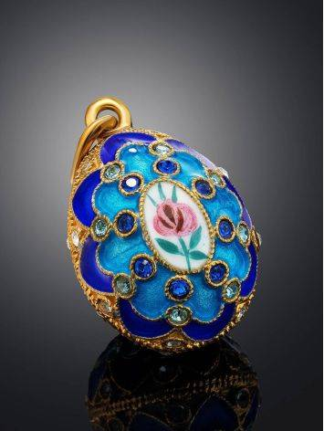 Amazing Multicolor Enamel Egg Shaped Pendant With Crystals The Romanov, image , picture 2