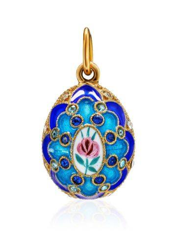 Amazing Multicolor Enamel Egg Shaped Pendant With Crystals The Romanov, image