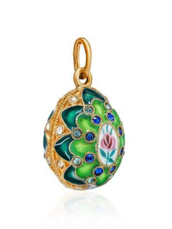 Green Enamel Egg Shaped Pendant With Crystals The Romanov, image , picture 3
