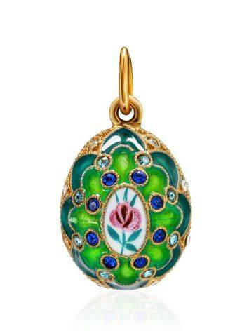 Green Enamel Egg Shaped Pendant With Crystals The Romanov, image