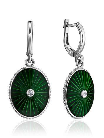 Green Enamel Oval Dangles With Diamonds The Heritage, image